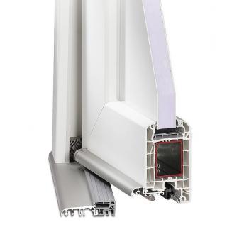 099x209 PVC Puerta de entrada con vidrio izquierda